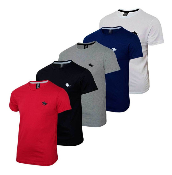 Kit Camiseta Masculina Lisa Básica Com Bordado Especial Polo