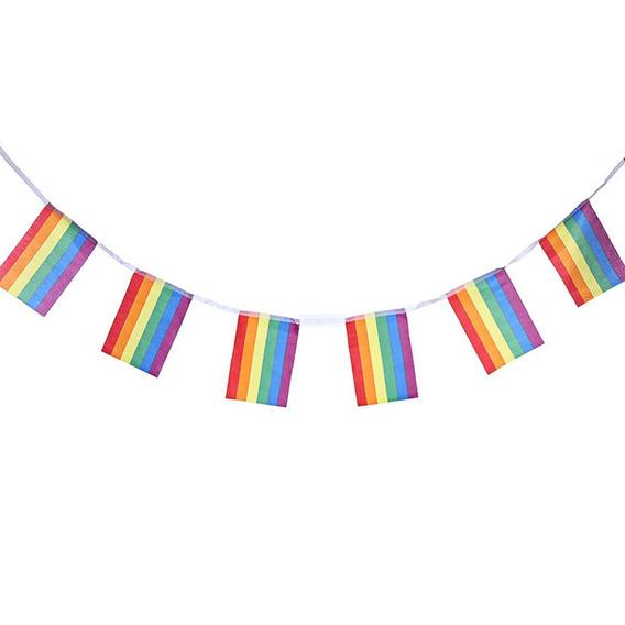 Guirnalda Gay Pride 5 Mts,20 Banderas Arcoiris(envío Gratis)