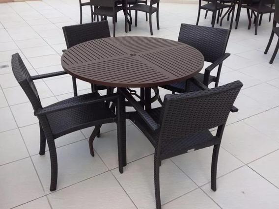 Jogo De Mesa Alumínio 4 Cadeiras Fibra Sintética Promoção!