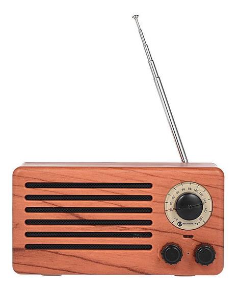 Rádio Retro Vintage 6w Textura De Madeira Portátil Fm Usb Sd Sem Fio Bluetooth