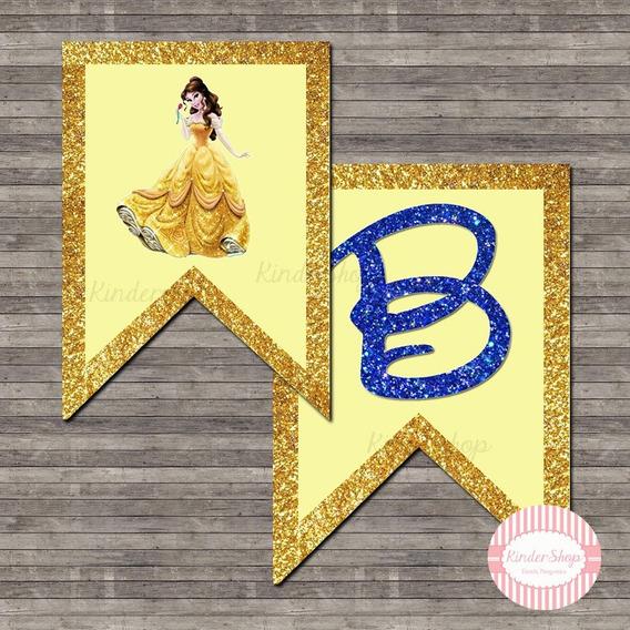 Bella Y La Bestia Banderin Imprimible Personalizado