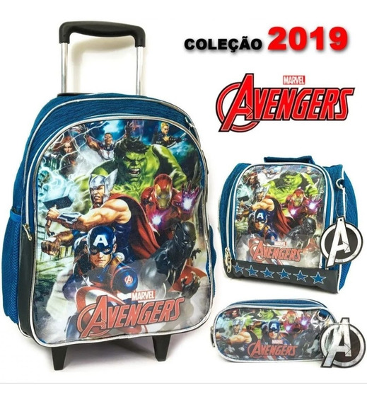 Kit Escolar Avengers Mochila, Estojo E Lancheira Original
