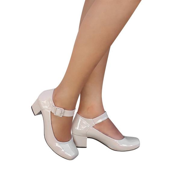 Sapato Boneca Branco Ou Preto Bege Verniz Salto Baixo Grosso