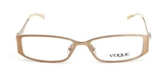 Oculos De Grau Feminino Vogue Quadrado Metal Dourado