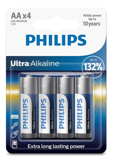 Pilhas Philips Ultra Alcalina Aa Lr6e4b 1.5v !