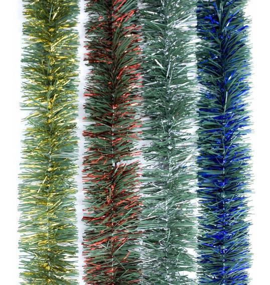 Guirnalda Navidad Verde Pino Con Metal 7,5 Cm X 2 M #295-c
