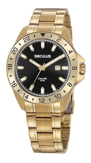 Relógio Masculino Seculus Dourado 20801gpsvda2 Visor Preto