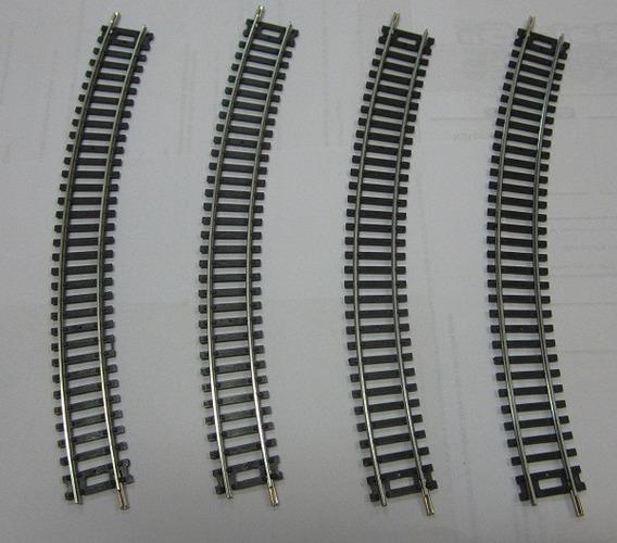 Trilho Curvo Níquel Silver Escala 1:87 (caixa C/ 4 Unidades)