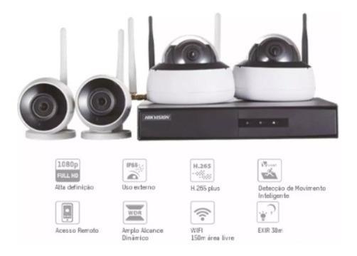 Kit Monitoramento Nvr4bd 4cam 2dome+2bullet 1nvr Wifi Hd 1tb