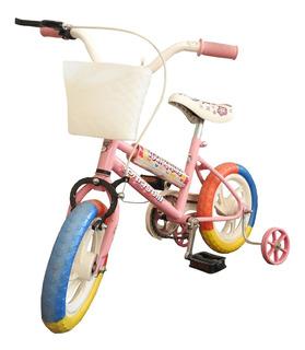 Bicicleta Rodado 12 Nena Infantil Tomaselli Canasto Rosa