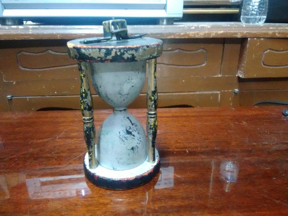 Viejo Arteasnía Tipo Reloj De Arena 20 Cms De Alto De Madera