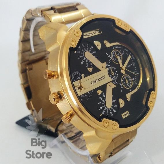 Relogio Cagarny Dourado Masculino Grande Barato De Luxo Top