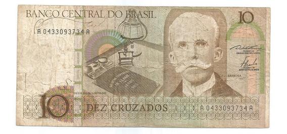 Brasil - C-180, 10 Cruzados 1986, Série 0433, Mbc/sob - Rara