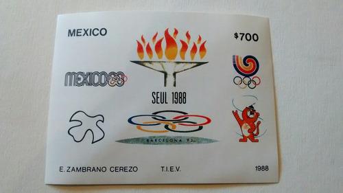 Imagen 1 de 3 de 2 Timbres Postales  Juegos De 24 Olimpiada Seul 1988 Nuevo