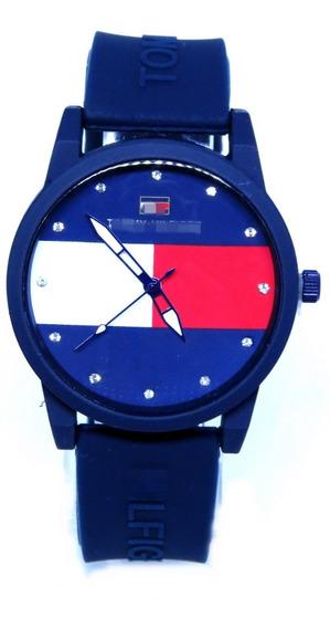 Relógio Feminino Azul Strass Silicone Confortável + Brinde