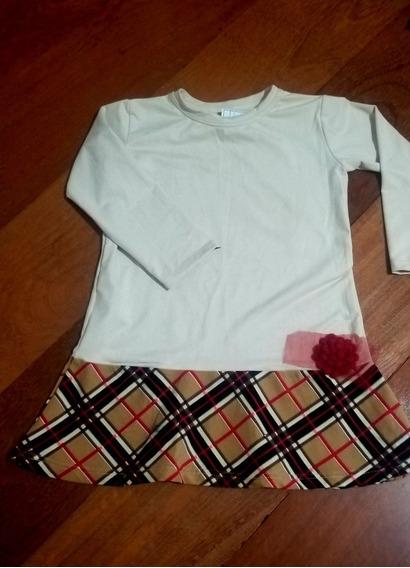 Vestido Infantil Xadrez E Veludo Tendencia