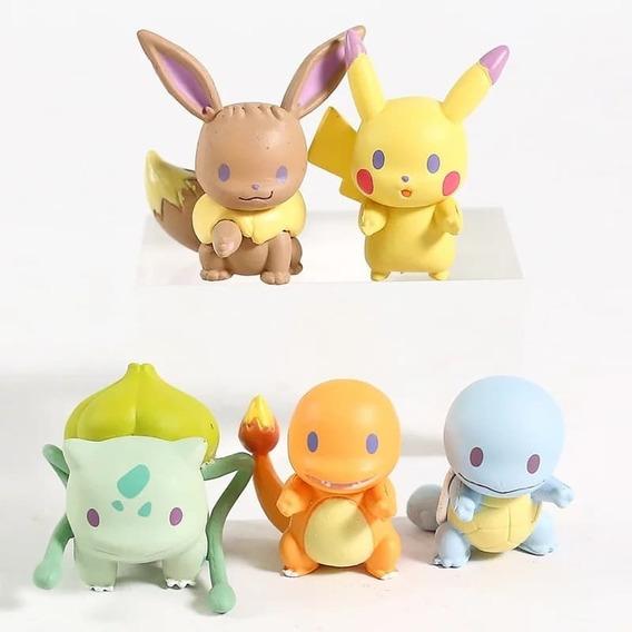 Set Pokémons Iniciales Evee, Pikachu, Bulbasaur, Charmander