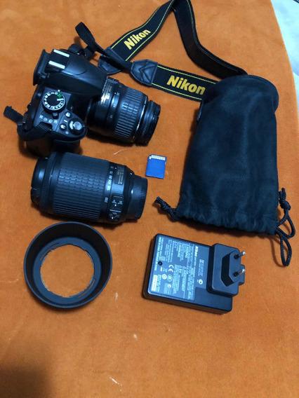 Câmera Nikon D3100 Duas Lentes (18-55 E 55-200) + Tripé