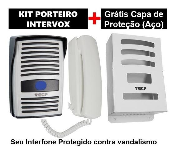 Kit Interfone Porteiro Eletrônico Ecp + Capa Aço Proteção