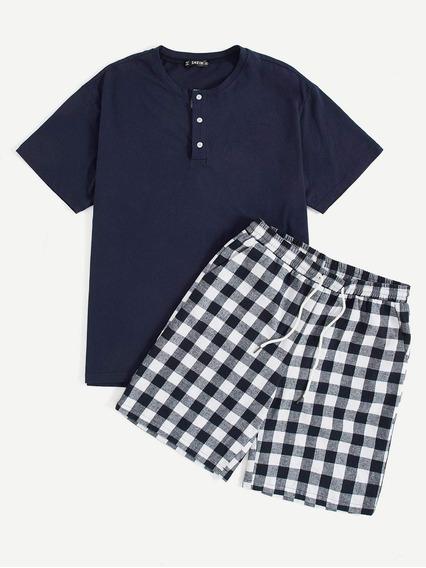 Conjunto De Pijama De Hombres Top Con Boton Medio Con Shorts
