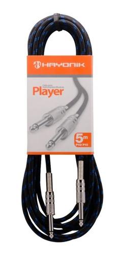 Cabo P10 P/ Violão, Guitarra, Baixo 5m Textil Player Hayonik