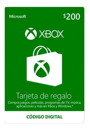 Imagen 1 de 1 de Microsoft Tarjeta De Regalo Xbox $200 Pesos (código Digital)