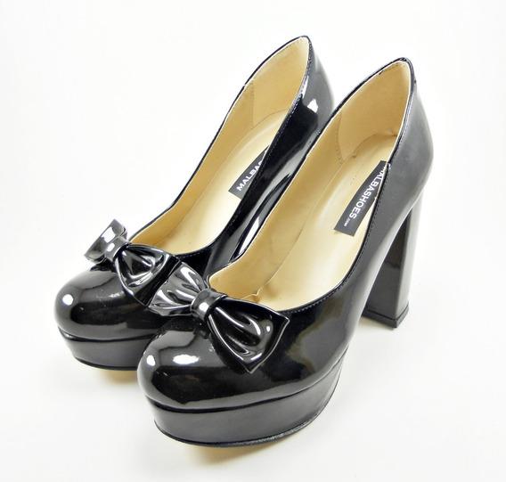 Zapato Con Plataforma Mujer Dama Moda Alto Negro Charol