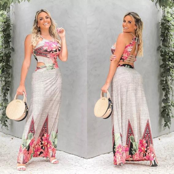 Vestido Costa Cruzada Longo Feminino Lançamento Verão