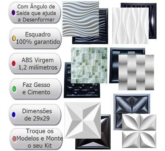 6 Formas De Gesso 3d E Cimento Abs 1,2mm Fdg 29x29 Promoção
