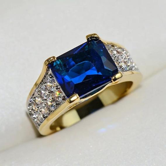 Anel Formatura Pedra Azul Safira Banhado Unisex Cursos