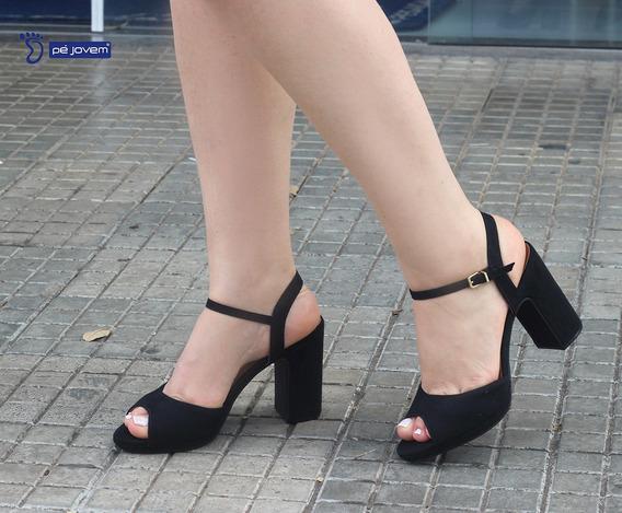 Sandalia Salto Medio Vizzano Na Cor Preto 6406100