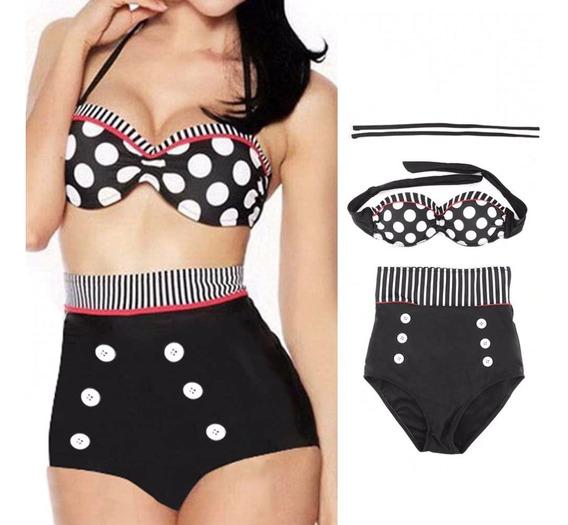 Vestido De Baño Mujer Traje Bikini Set Brasier Copa + Panty