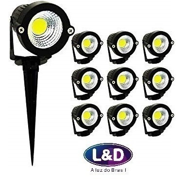 Kit 10 Espeto Luminaria Jardim Led Lâmpada Cob 5w Quente