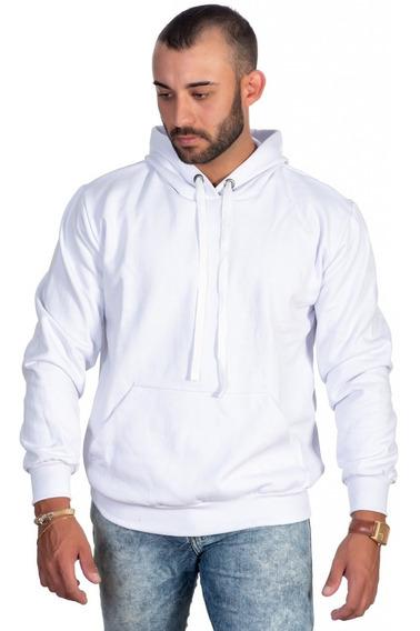 Moletom Branco Masculino Liso Com Capuz Fechado Promoção