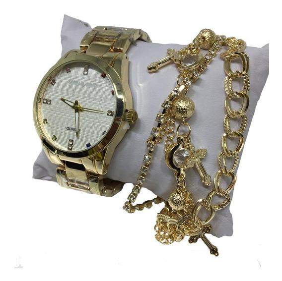 Relógio Feminino Rose Dourado Prata Barato+caixa+pulseira