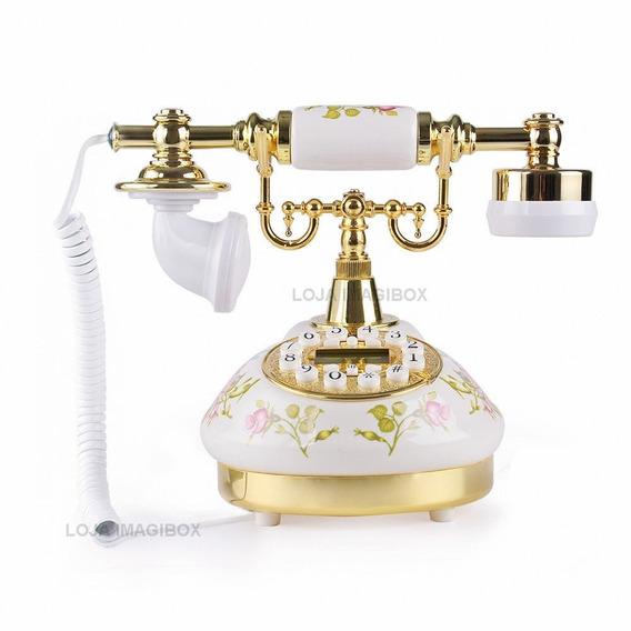 Retro Telefone De Mesa Flor Rosa Vintage Antigo Decoração