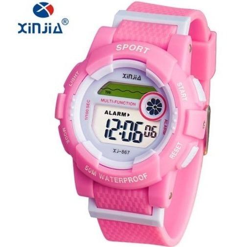 Relógio Feminino Xinjia-867 Fitness Rosa Prova De Água Cronometro Calendário Alarme E Luz