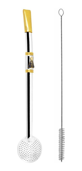 Bomba De Chimarrão Tererê 25cm Aço Inox Com Rosca Ouro 18k