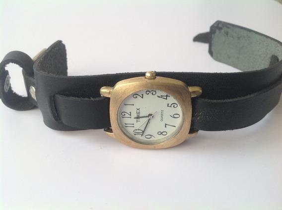 Timex Vintage Cuarzo. Acero Cepillado Con Chapa De Oro 80