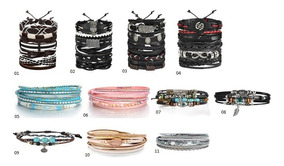 Pulseira Bracelete Couro Masculino Feminino Ajustável Kit