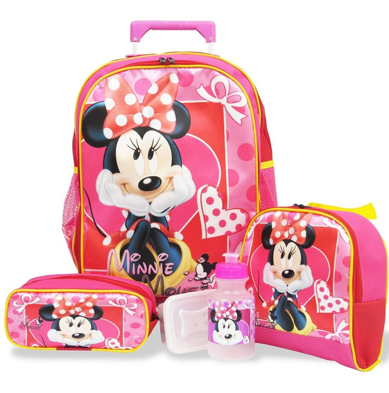 Kit Escolar Mochila Minnie Mouse Rodinhas, Lanch. E Estojo