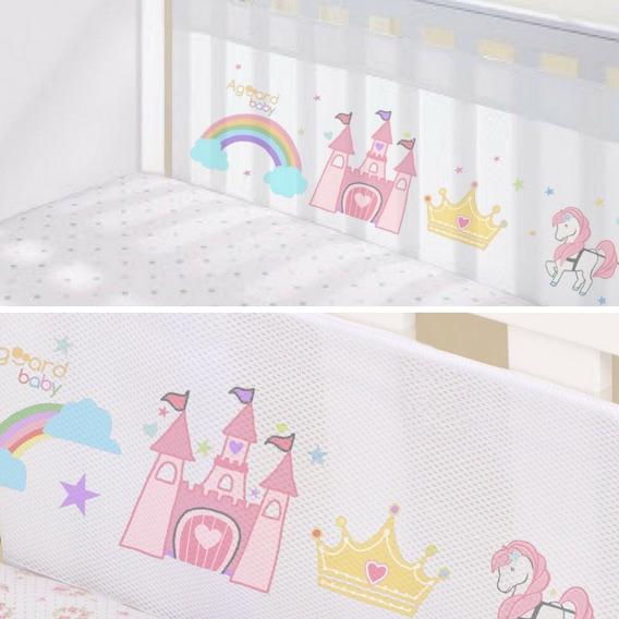 Protetor Berço Tela Respirável Bebê Princesa Grade 2 Lados
