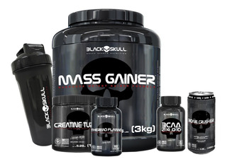 Mass Gainer+bcaa 30caps+creatina+termogênico Black Skull