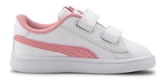 Zapatillas Puma Smash V2 L Nena Moda Blanco-rosa