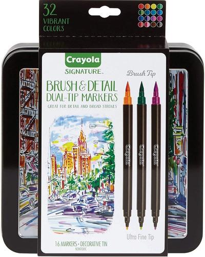 16 Marcadores Crayola Signature Brush & Detail Dual Tip