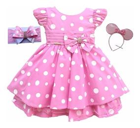Vestido Minnie Rosa Luxo Infantil Luxo Com 2 Tiaras Minei