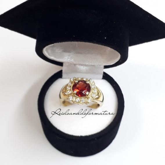 Anel Formatura Odontologia Ouro18k Pedra Granada Natural