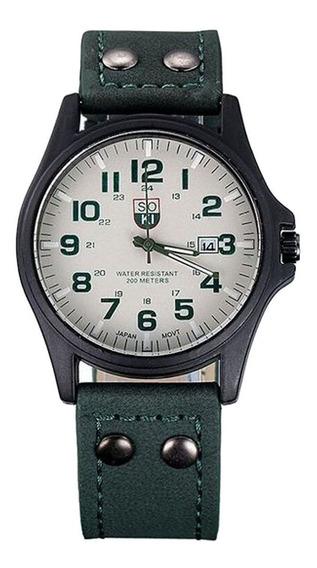 Relógio De Pulso Soki Quartzo Esportivo Couro Branco/verde