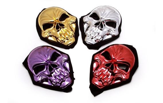 Mascaras Metalizadas Alien/calavera De Tela Para Disfraz