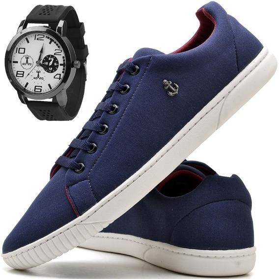 Tenis Masculino Sapatenis Masculino Sapato C/ Relógio